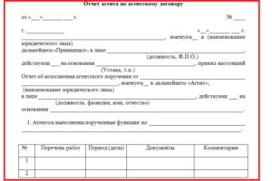 Акт выполненных работ по агентскому договору образец