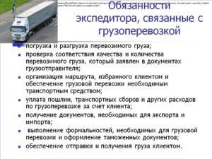Должностная инструкция главного экспедитора по перевозке грузов
