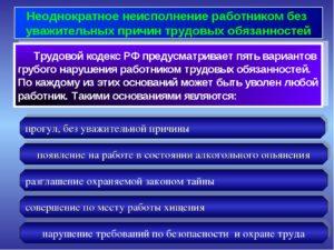 Каковы условия увольнения работника за неоднократное нарушение трудовых обязанностей