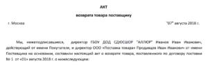Образец письма о возврате товара с истекающим сроком годности между юридическими лицами