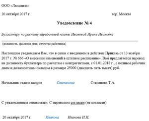 Уведомление 2019 год о переводе на полставки по инициативе работодателя