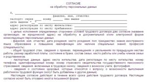 Заявление о персональных данных при приеме на работу образец