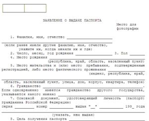 Образец заявление на хранение копию паспорта