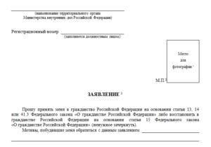 Заявление на гражданство рф нового образца 2019 бланк консультант плюс