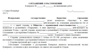 Пример письма о расторжении договора на оказание услуг по соглашению сторон
