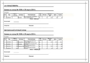 Образец заявки на выдачу материалов со склада