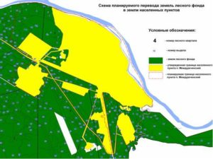Территория с кустарниками относится к землям лесного фонда или с землям