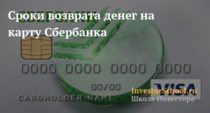 Возврат денег на карту при оплате банковской картой сбербанка сроки
