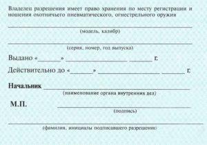 Лицензия на пневматическое оружие