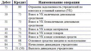 Уставной фонд от учредителей 5 человек бух проводки