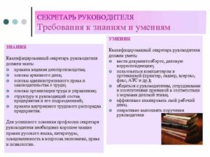 Секретарь руководителя должностные обязанности и требования к квалификации