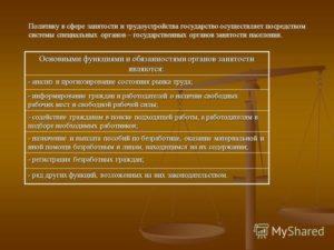 Органы службы занятости населения их права и обязанности