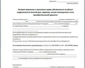 Исковое заявление юр лица о признании права собственности на судно