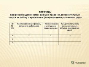 Перечень должностей работников имеющих право на дополнительный отпуск