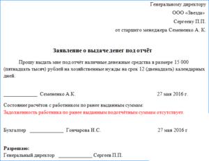Служебная записка для выдачи денег директору