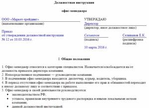 Пример должностной инструкции зам главы администрации