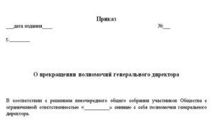 Приказ на увольнение директора при ликвидации ооо