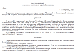 Постановление о назначении судебной экспертизы по уголовному делу образец
