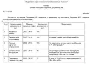 Опись документов подлежащая передаче при смене инспектора отдела кадров