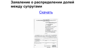 Образец заполнения заявления о распределении налога вычета между супругами