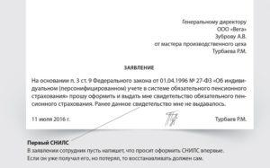 Заявление на замену снилс через работодателя
