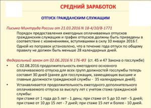 Расчет отпуска государственного гражданского служащего в 2019 году